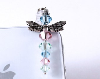 Crystal Dragonfly Charm - Cell Phone Bling, Pastel Crystals, Aquamarine, Rose Pink, Peridot Green, Silver Wings