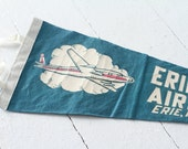 1950s Vintage Aviation Pennant - Wool Felt Pennant - Souvenir -  Erie International Airport