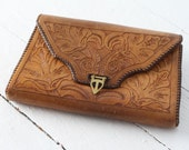 1940s - 1950s Vintage Tooled Leather Purse - Hand Tooled - Perfectly Worn