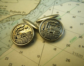Silver Paddle Wheel Steamboat Cufflinks