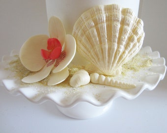 orchids with shells ivory set