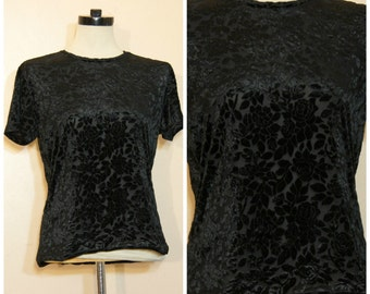 90s Black Burnout Velvet Top OSFM Sheer Floral Goth Stevie Nicks Gypsy Witchy