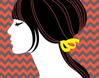 DIGITAL ILLUSTRATION - Ms Georgina 5x7 inch, retro inspired, stylised silhouette portrait, funky, orange, black, grey