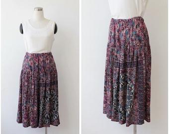 Free Shipping. Vintage Boho Skirt, Ethnic Paisley Pleated Rayon Skirt Plus Size Skirt L XL 2xl