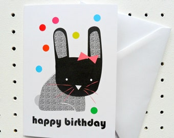Bunny Happy Birthday Card