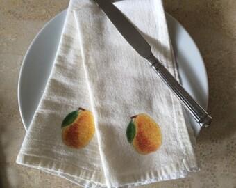 Pear Napkins, Cotton Flour Sack, Napkin Set of 2, Autumn Napkins,Thanksgiving Napkins, Holiday Napkins,Dining Table Decor, Apple Orchard