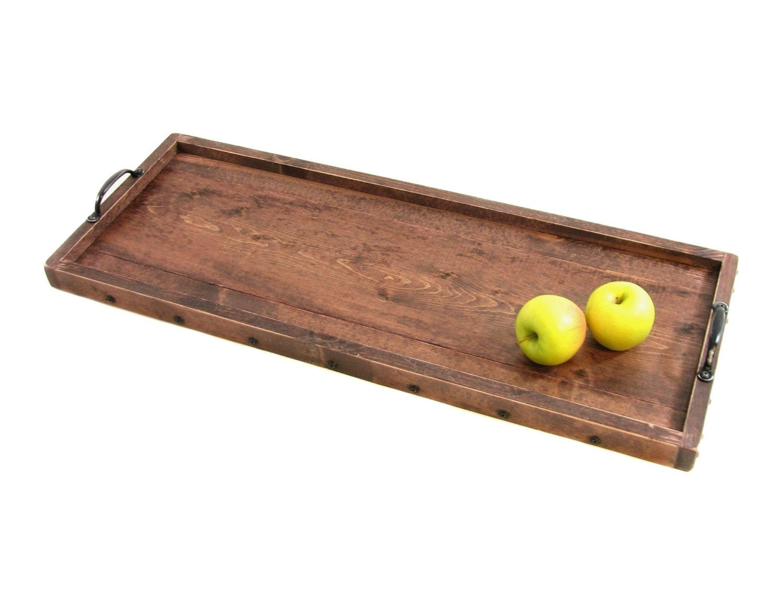 Serving Tray Long Narrow Wood Tray Large Ottoman Tray