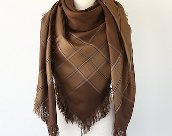 Wool Blanket Scarf Brown wrap Fringe shawl Plaid shawl Winter accessories Wool wrap Holiday gift Christmas gift for her