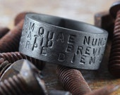 Carpe Diem Ring Black Sterling Silver Hand Stamped Personalize Man Jewellery