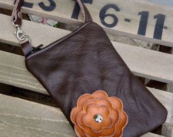 Brown Spice Rust Leather Fall Flower Cell Phone Galaxy Iphone Camera Sling Crossbody Case Zipper Pouch
