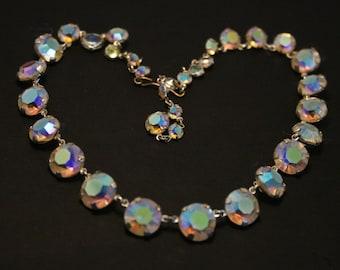 Vintage open back crystal necklace. Single strand. Aurora Borealis