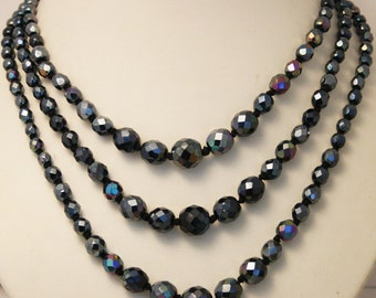 Vintage grey crystal bead necklace. 3 row necklace
