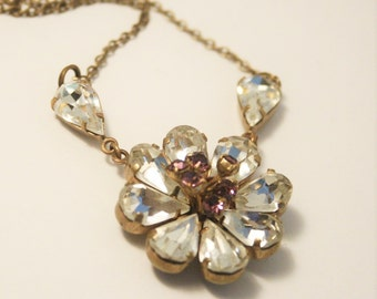 Vintage crystal flower necklace. Purple and clear crystal necklace