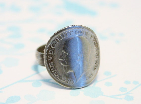 vintage silver sixpence ring coin ring