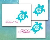 Sea Turtle Note Cards, Personalized Stationery, Hawaiian Turtle Hibiscus, Name, Initials or Aloha/Custom Stationery/Made to Order/Thank You