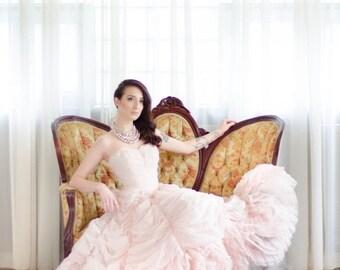 35% OFF - 1950s Wedding Dress - 50s Rose Quartz Wedding Dress - Sugared Love
