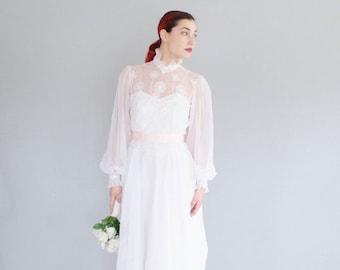 35% OFF - 70s Chiffon Wedding Dress - Vintage 1970s Wedding Gown -  Oltre la Luna Wedding Gown