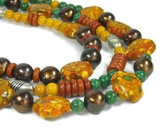 Mixed Gemstone Necklace, Layered Gemstone, Multistrand, Autumn, Multi Strand Necklace, Fall, Orange, Yellow, Green, Chunky, Boho Jewelry