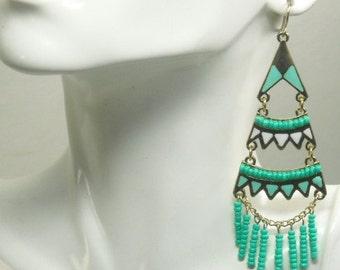 Bohemian Jewelry, Boho Chic Earrings, Turquoise, Long Dangle, Southwest, Gypsy, Hippie, Cowgirl, Chandelier Earrings, Beaded Earrings,