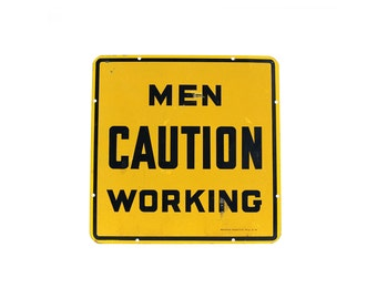 vintage large double-sided MEN CAUTION WORKING construction sign