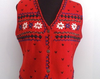 Vintage RED Wool Christmas Holiday Party VEST ~ Size M Erika Classics Clothing Co.