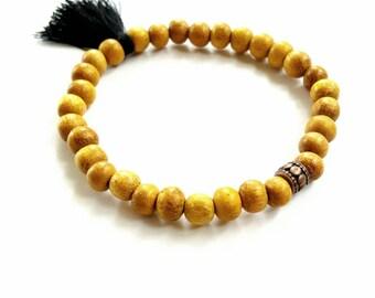Tassel bracelet//beaded colorful tassel bracelet//statement bracelet//wood bead tassel jewelry//tassel jewelry