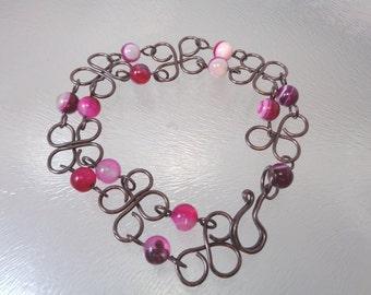 Pink Agate and Copper Wire Bracelet | Pink Agate Bracelet | Linked Bracelet