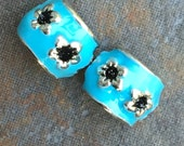 European Beads, Spacers, Set of Two Light Blue Metal Large Hole Beads with Silver and Black Flowers, Silver insides