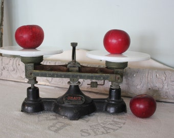 Antique Ohaus Cast Iron Balance Scale with Milk Glass Trays