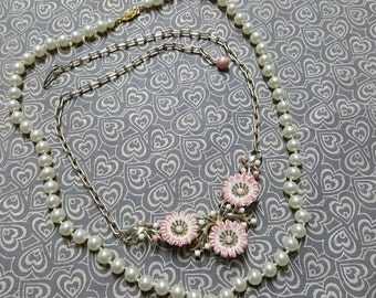 Art Deco  Celluloid necklace in Coral and Cream with  Pearls lot of 2 necklaces