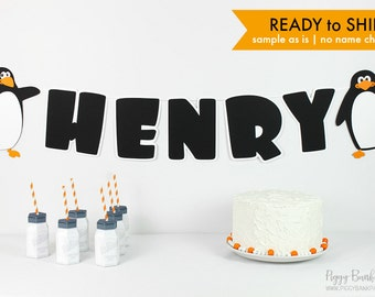 HENRY Penguin Banner : Handcrafted Birthday Party Decoration   First Birthday Banner   Winter Onederland   Ready to Ship   No Name Changes