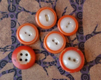 Buttons Antique Orange Iridescent Mound Ringer China Mixed Lot of 6