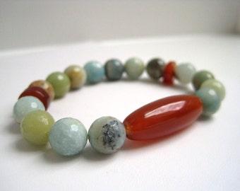 Amazonite & Carnelian Bracelet / Gemstone Bracelet / Natural Stone  Beadwork / Spring Fresh Stacking Bracelet