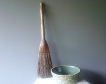 Antique Hearth Whisk Broom - Rustic Wooden Turned Handle Straw Broom