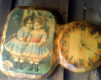 Vintage Wooden Clock with Victorian Children Print - Handcrafted, decoupage with varnish