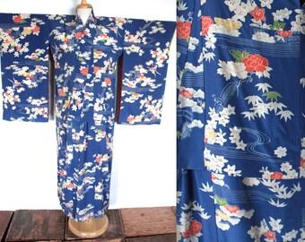Vintage 1930s Kimono Robe // 30s Hand Painted Royal Blue Silk Crepe Traditional Robe // Art Deco Floral Kimono