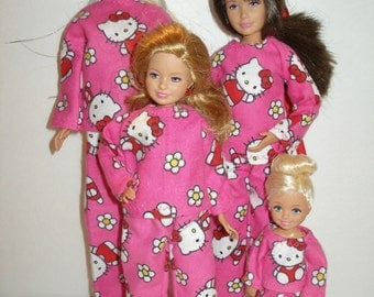 Handmade Fashion doll clothes - 4 fashion doll sisters pajamas set - Your choice pink and white kitty, Paris/poodles or pink floral print