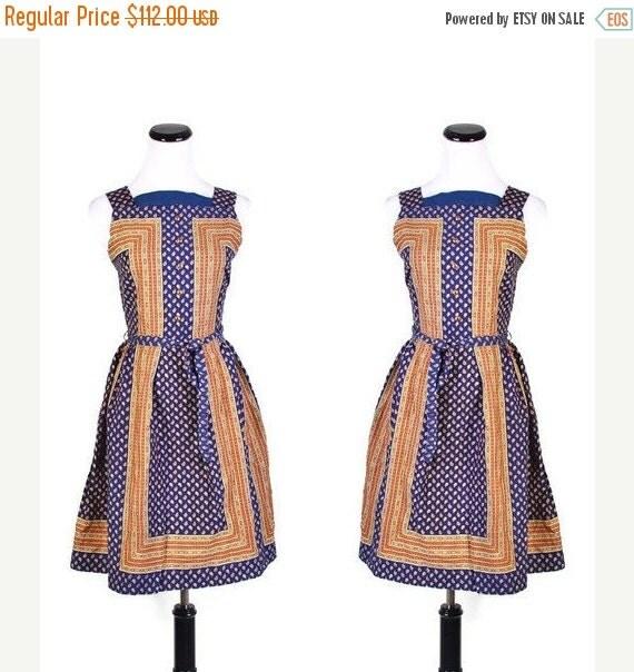 70% Off FINAL SALE - Cotton Dress / 1960s Dress / Dresses / Paisley  / Dresses / Copper / Blue / Ethnic / Short Dress  / 0975