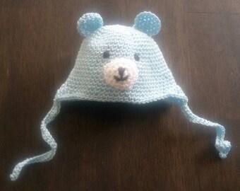 Blue amigurumi crochet bear hat for 6 inch baby