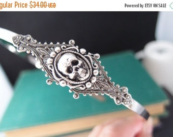 CLEAROUT SALE 40% OFF Haunted Hero--Victorian style gothic skull silver brass headband