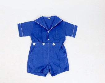 Vintage Sailor Set / Baby Clothes / 1920s Baby Romper 1930s Baby Romper / Shirt Short Set Blue Romper Size 18 24 Months New Mom Shower Gift