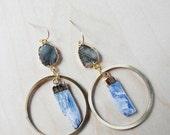 20% Off Vacation Sale Labradorite Kyanite Brass Hoop Dangle Earrings/ Natural Stone Mineral Gem/ Blue Kyanite Labradorite Stone/ Brass Hoop