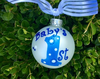 Baby's First Ornament - Personalized Ornament- Handpainted for Birthday or Christmas,  Baby's First Christmas, First Birthday, Party Favor