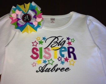 Embroidered - big sister shirt with stars and personalization - choose short sleeve or long sleeve
