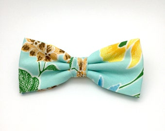 Floral Cyan Blue Aqua Bow Tie Clip-On Flower Pre tied Country Men Women Teen Boy Baby Toddler Children Wedding Bow tie for Groom Groomsmen