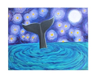 Whale Tail, 11x14 inch original acrylic canvas painting, whimsical whale art