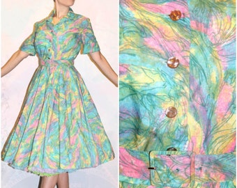 1950s Pastel Rainbow dress with belt fairy kei pastelgoth peter max Novelty