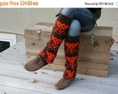 CLEARANCE SALE Upcycled Recycled Repurposed Sweater Leg Warmers Boot Cuffs Chocolate Brown Orange Fall Winter Fashion Tribal Geometric