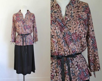 75% OFF...last call // vintage 1970s floral dress - AZALEA faux two piece day dress / XL