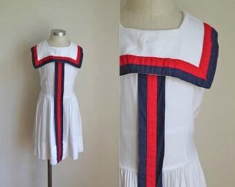 vintage 1950s girl's dress - HAMPTON GIRL nautical white  sundress / 9-10yr
